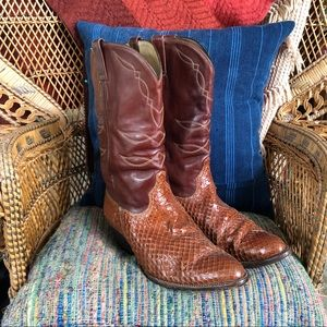 Vintage Rich Brown Leather & Python Cowboy Boots